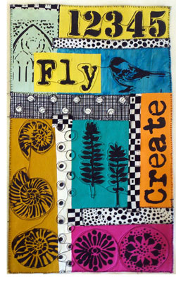 One of Judy Gula's completed Black & White & Bold All Over art quilts