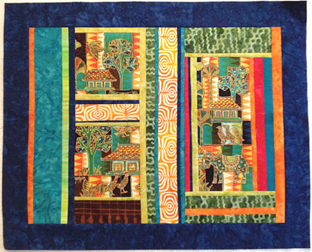 First version, Mahyer panel art quilt by Judy Gula