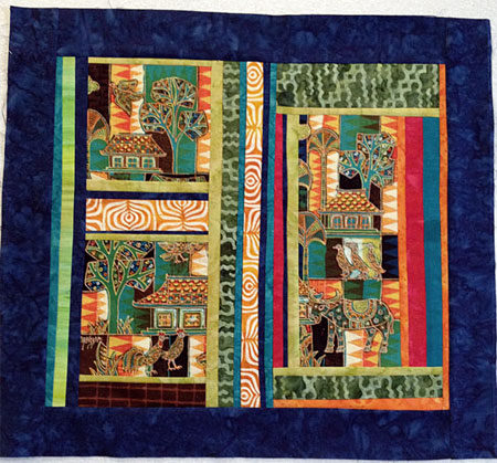 Revised version, Mahyer panel art quilt by Judy Gula