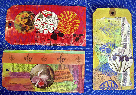 Tags by Judy Gula featuring Luminarte Silks Acrylic Glazes and Twinkling H2O's