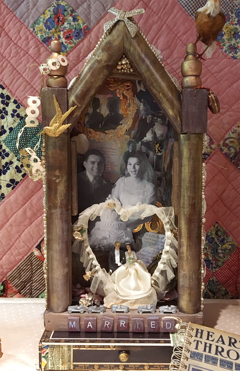 Mixed media art assemblage created by Judy Gula to celebrate her parents 50th wedding anniversary