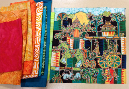 Selecting fabrics to use with the Mahyar batik panel