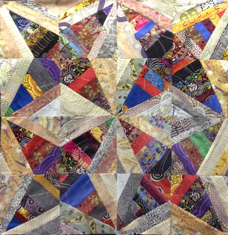 Judy Gula string pieced Aussie fabric quilt top