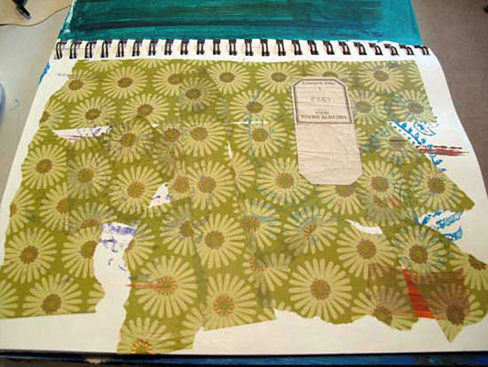 Collage tissue paper on the journal page