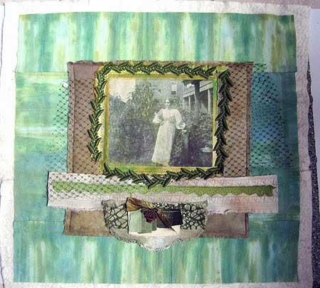 Judy Gula creating the focal point of her art quilt