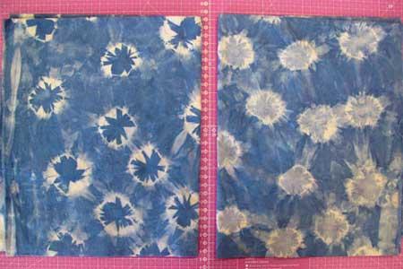 Judy Gula's indigo shibori fabric after untying