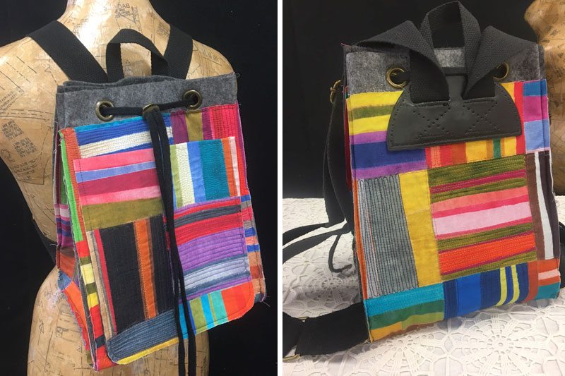 Amalia backpack made by Judy Gula using an Aster & Anne kit