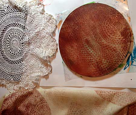 Printing a vintage inspired fabric with doilies and Gel Arts printing plate