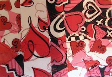 Fabric postcard by Judy Gula before embellishment