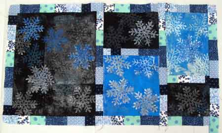 Snowflake quilt with Lutradur snowflakes