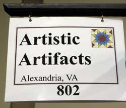 Artistic Artifacts sign at Quilt Odyssey