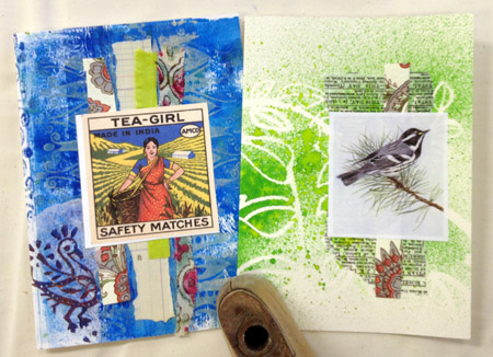 Collaged greeting cards by Judy Gula of Artistic Artifacts