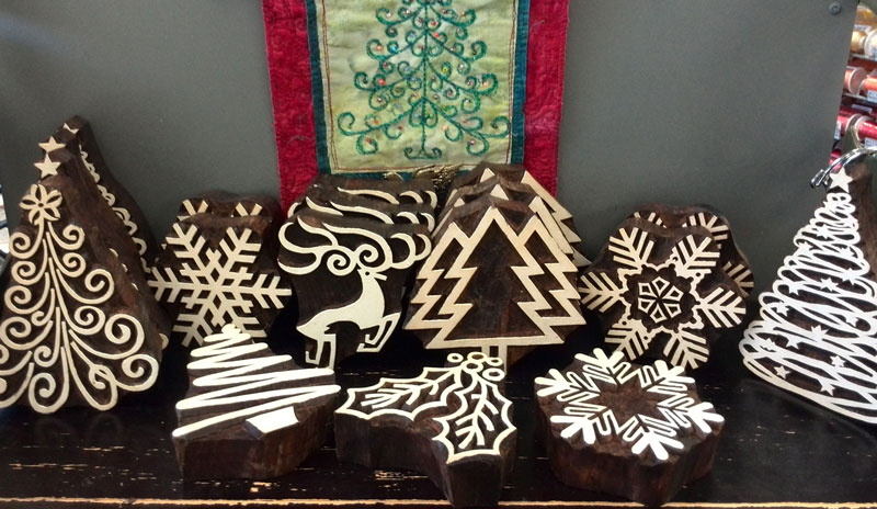 Holiday themed wooden printing blocks for sale by Artistic Artifacts