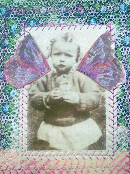 Detail, fabric collage photo book page by Judy Gula