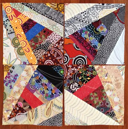 Judy Gula Aussie fabric string pieced quarter block templates