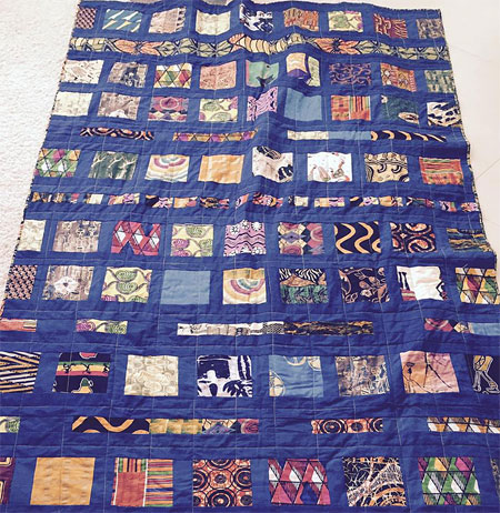 African fabric quilt by Judy Gula and family