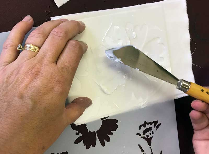 Applying iCraft Deco Foil Transfer Gel to a fabric swatch