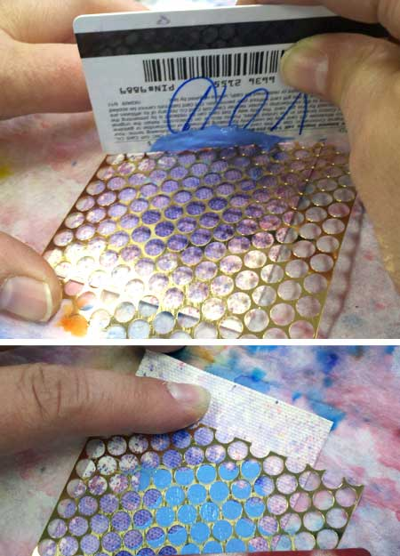 Applying Brusho Crystal Colours mixed with molding paste