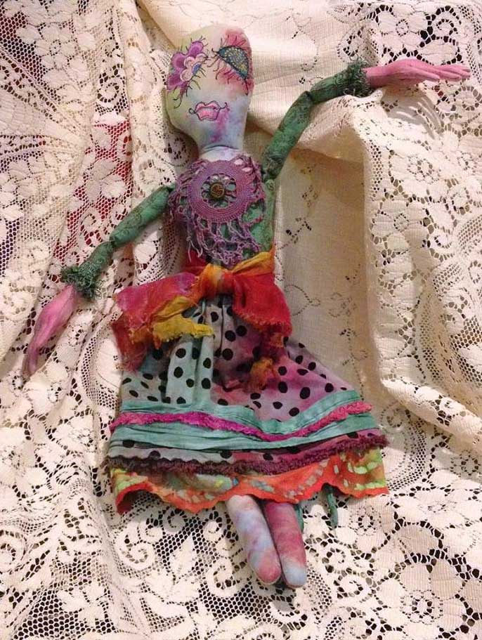 Art doll created with Judy Gula's hand-dyed textiles by Art & Soul creative retreat student