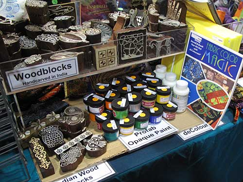 Wooden printing blocks in the Artistic Artifacts/Batik Tambal booth