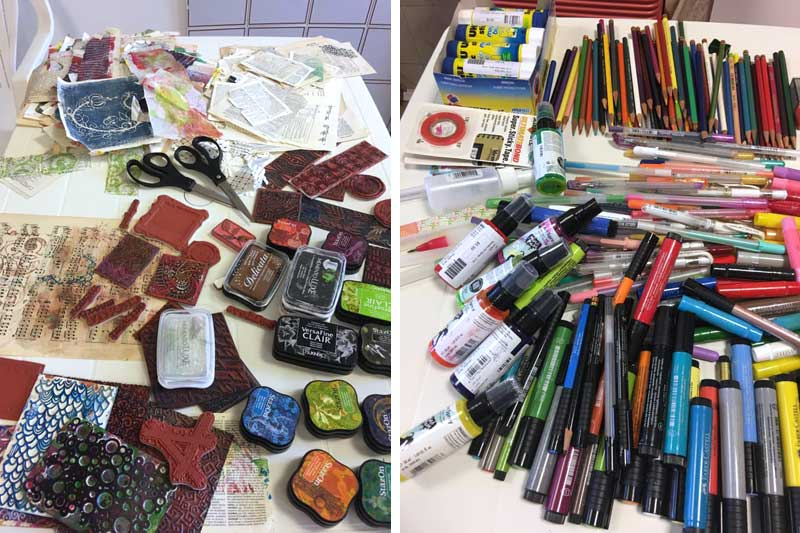 Mixed media art supplies available during the Artistic Artifacts creative tour of Ischia di Castro, Italy