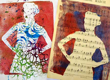 Monoprints created during Gel Printing Plate demos