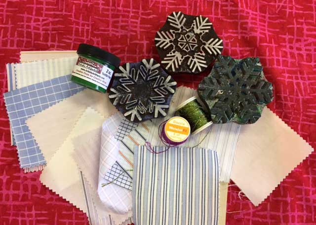 Supplies used to create Block Printed fabric snowflakes