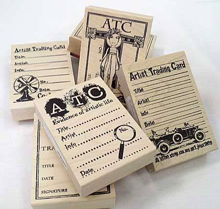Rubber stamps for the reverse of ATCs