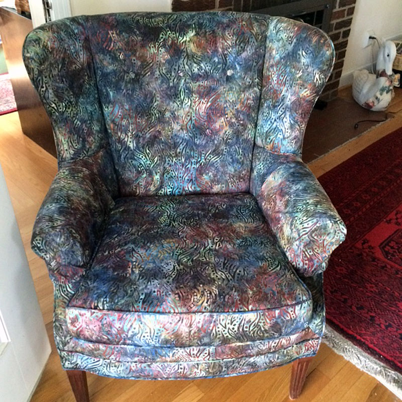 Wing chair upholstered in batik fabric from Artistic Artifacts; chair owned by Ellen Taylor of Arlington, VA