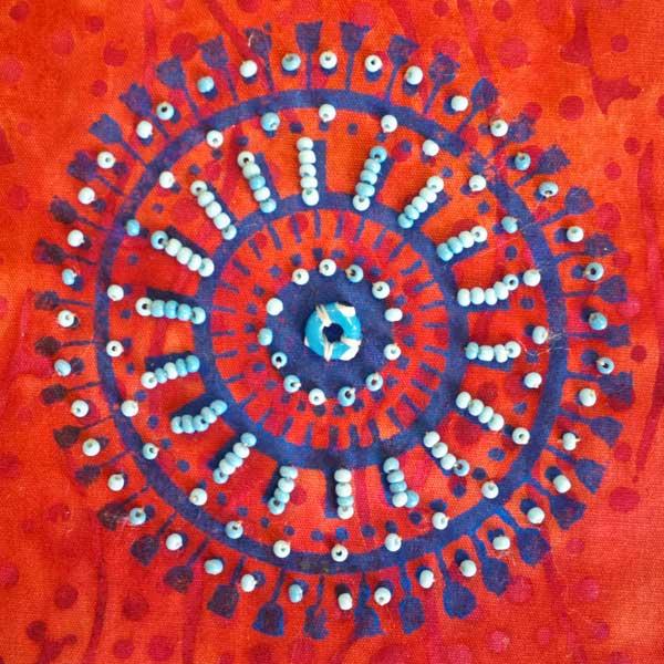 Beading a block printed motif by Judy Gula