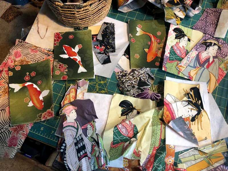 Fabric postcards by Betsy True