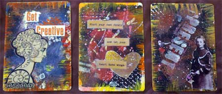 Cards by Beverly Hilbert created in Seth Apter's 52 Card Pickup class