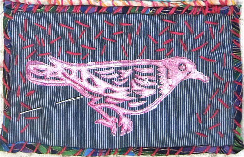 Judy Gula stitched bird quiltlet in progress