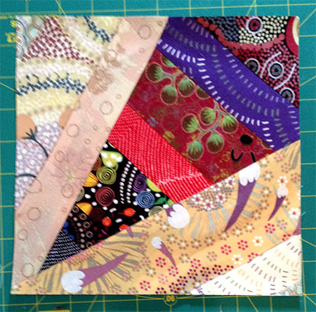 The front of a completed quarter block, Virginia Strings quilt