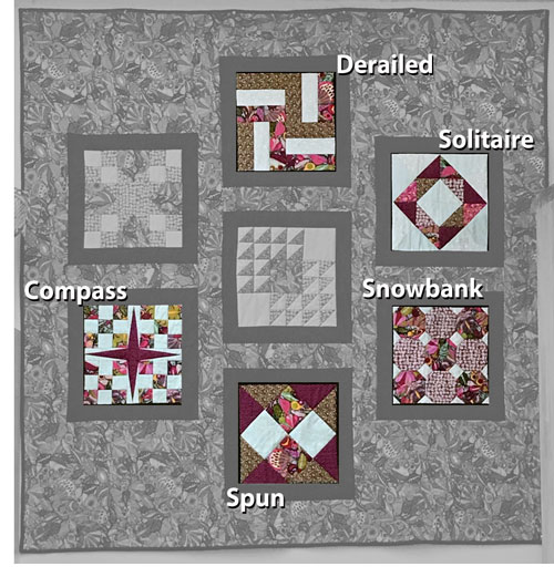 Image identifying the names of quilt blocks taught in class
