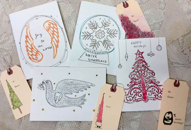 Block printed cards with sketching created by Celia Middleton