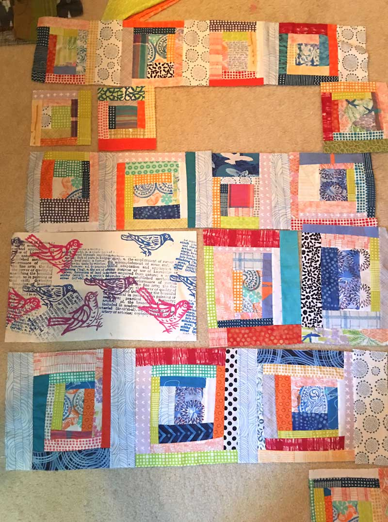 Designing the layout for the Block Printed Scrappy Quilt by Judy Gula