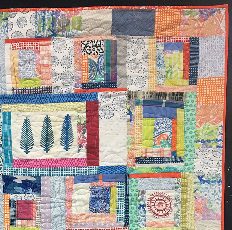 Detail, Block Printed Scrappy Quilt by Judy Gula
