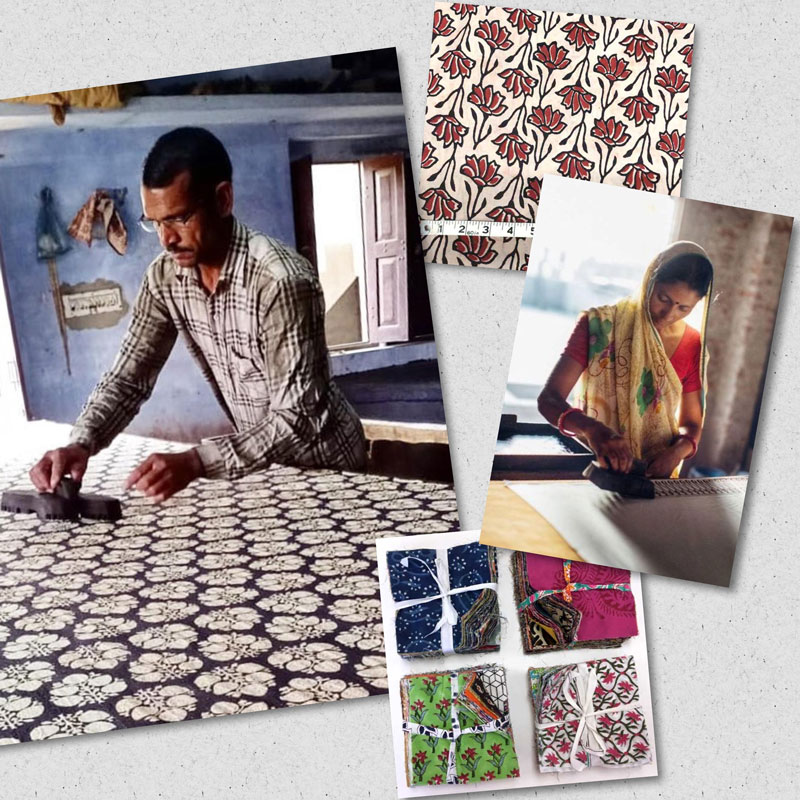 Block printed fabrics available from Artistic Artifacts and photos of the intensive hand process by artisans in India.