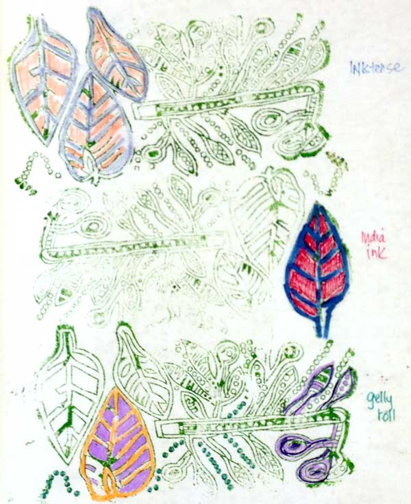 Using various pens to color block printed fabric