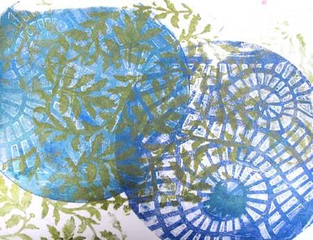 Silks Acrylic Glazes used to monoprint