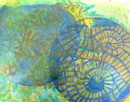 monoprint journal page accented with Twinkling H20's