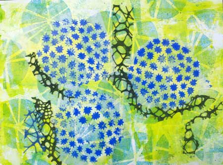 Block printed tissue on stenciled art journal page by Judy Gula