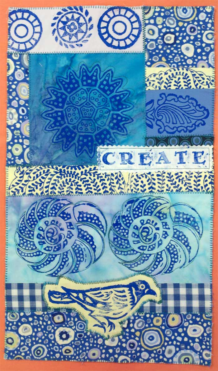 Block printed art quilt-let by Judy Gula of Artistic Artifacts