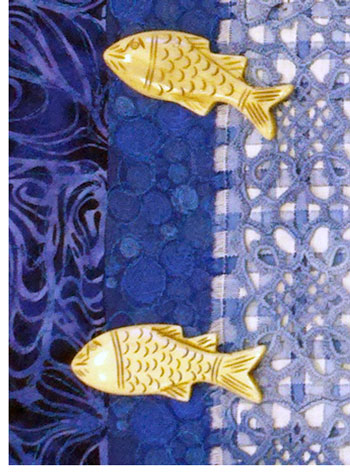 Detail, Blue Fish quilt by Judy Gula