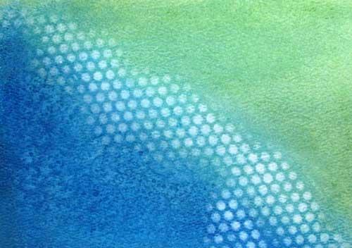 Gelatos on watercolor paper with salt texture