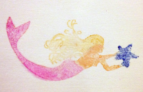 Beth Richardson's Mermaid stamped using a wooden printing block colored with Gelatos