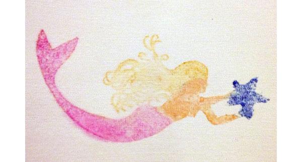 Block printed mermaid by Beth Richardson