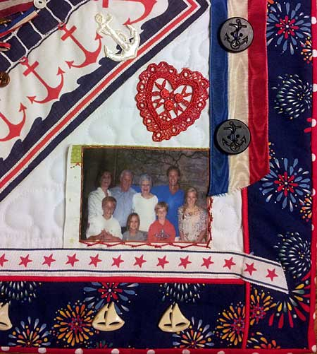 A family photo adorns the corner of Mr. Buck's quilt
