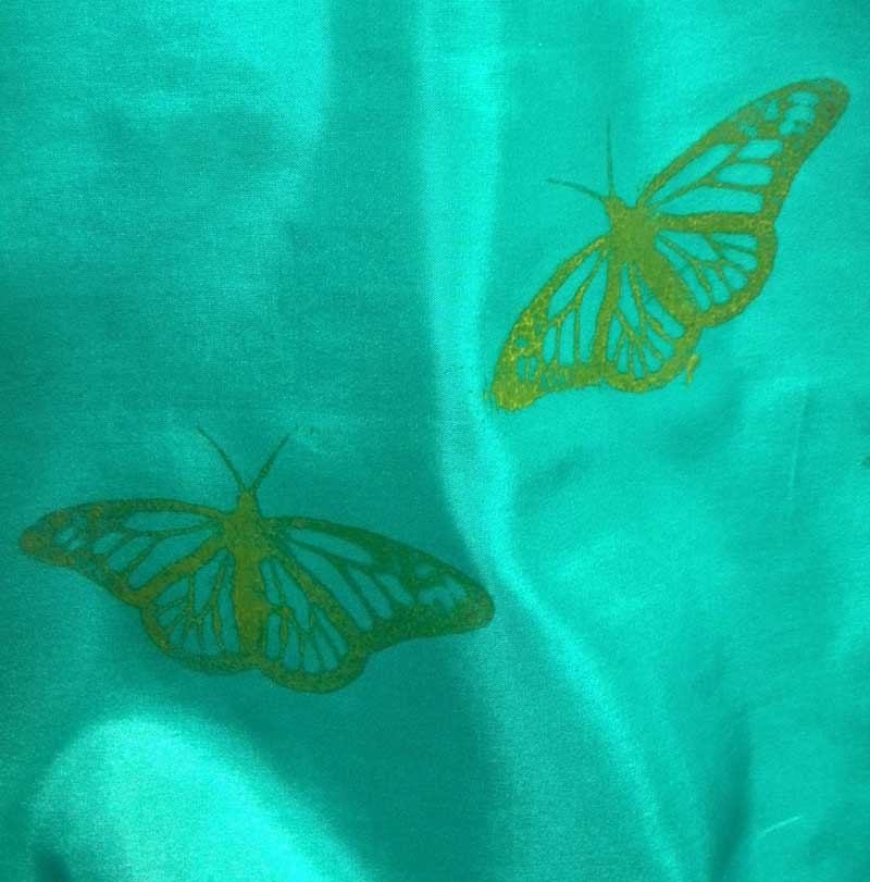 Silk fabric printed with a butterfly screen